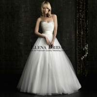 Simple Sweetheart Neckline Strapless Satin and Voile Court Train  Princess Ball Gown Wedding Dress, Free DliveryWedding Gowns
