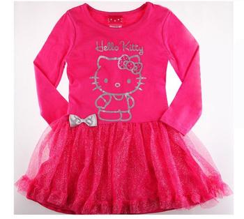 2013 new 100% cotton children's clothing, girls dress, autumn long-sleeved dress, hello kitty princess dress, 5pcs/lot