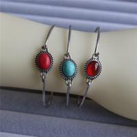 Fashion retro style antique silver plated bangle bracelets,Turquoise bangle design for women wholesale free shipping