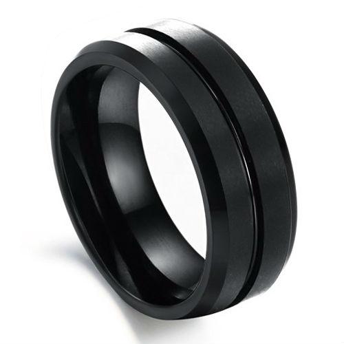 8mm Black Tungsten Ring Brushed Beveled Wedding Band Size 6 13 NR60