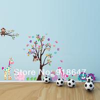 SIA New Product Big size Wall Stickers 280x153cm Monkey Tree Animal Removable Kids DIY Decoration Home Decor Nursery Decal