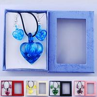 New Murano Glass Heart Sets Flower Inside Pendant Necklace Set Fashion Jewelry Pink Yellow Green Blue Purple D14559