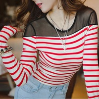 ZA S- XXL 2014 new spring primer shirt women striped long sleeve knit T-shirt stitching institute wind sea striped tops women