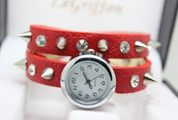 2013 Retro fashion leather watch tangerine bronze lady watch long belt winding the lady bracelet watch free mail