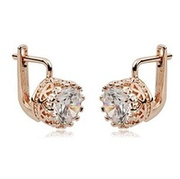Wholesale Italina Rhinestone Crystal Sparkling Crown Drop Earrings with 18K Gold Plated Free Shipping