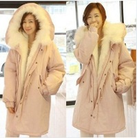 Free Shipping winter 2013 berber fleece jacket coats winter warm long outerwear wadded jacket plush pink coats