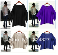 New Fashion 2014 Women Batwing Dolman Three Quarter Sleeve Loose Tops Vest T-Shirt  D0020