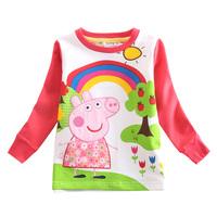 Peppa pig girl t shirt girl's fashion Spring clothing applique peppa pig baby girl long sleeve T-shirt kids casual t shirt F4281