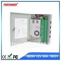360W 12V30A 18channels AC/DC switch power adaptor for CCTV cameras, CE/Rohs/FCC/IEC & 2-year warranty