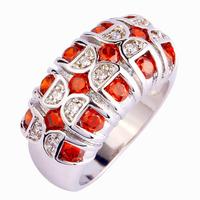 Wholesale Dazzling Round Cut Garnet & White Topaz 925  Silver Ring Size 7   Love Style Jewelry