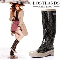 New Arrieved 2014 Autumn High Quality Classic Women Rain Boots,High Knee Lace Rubber Boots Botas Femininas Galocha Chuteira