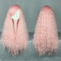 Cheap and Best Quality Perucas Cosplay Cabelo Maquiage Long Synthetic pink Lolita Cosplay Wigs