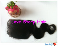 Love Story Hair Stock 3.5*4 inch Body Wave Top Closure Peruvian Virgin Hair Freestyle FREE SHIPPING!