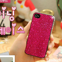 Freeshipping Fashion Pretty Lady's Ultra Thin Phone Case for iPhone 5 4s 4g Glitter PC Plastic Hard Back Case Cover +Screen film