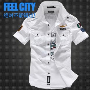 Free shipping 2014 summer brand military t-shirts Men's custom air embroidered chapter short-sleeve shirt plus szie M-XXXL /CS15