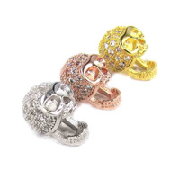 Free Shipping New Punk Gold Skull Heads 7*12mm Mosaic Zircon Brass Spacers Beads Findings Fit Shamballa Bracelet Necklace Diy