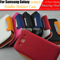 For Samsung I9300 Galaxy SIII S3 Leather Case Book Style Cover with Stand & Credit Holder & String Wallet Holster Free Shipping