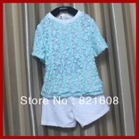girl clothing set 2 pcs set wholesale 5pcs/lot kid sport twinset lace 100% cotton 90-130cm children summer two pcs set