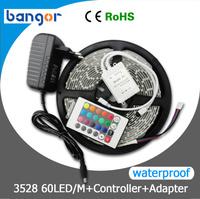 Waterproof 12V RGB 3528 SMD LED Strip ,LED Strip Light 60LEDs/M 5M/Lot+24W Power Supply ,Only RGB with 24keys IR Controller