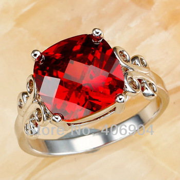 New Lady 12*12mm Princess Cut Garnet 925 Silver Ring Size 7 8 9 10 Fashion Popular Wedding Jewelry Women Party Rings Wholesale