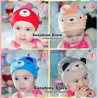 Sunshine store #2C2712  5 pcs/lot(4 colors)baby hat cotton boy's/girl's toddler bear ear stripe cap spring/autumn beanie CPAM