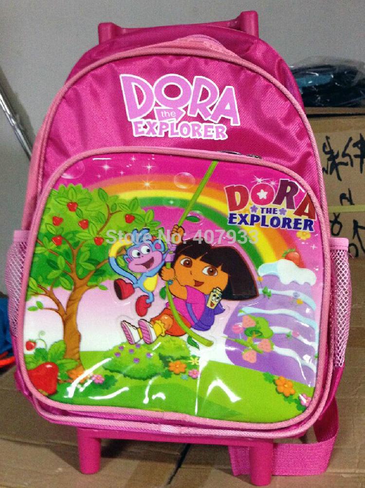 Dora Trolley caso 5 pcs 15 * 9.4 * 4.7 '' 38 * 24 * 12 cmNylon Dora the Bag explorador mochila escolar infantil(China (Mainland))
