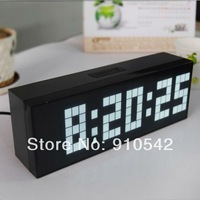 Re tail/Wholesale 4 LED Color wall alarm clock digital +thermometer+calendar Free Shipping