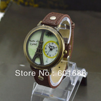 Hot Selling Fashion Quartz Watch Women Watches Eiffel Tower Leather Young Hours Vintage Casual Lady Dress Wristwatches New 2013