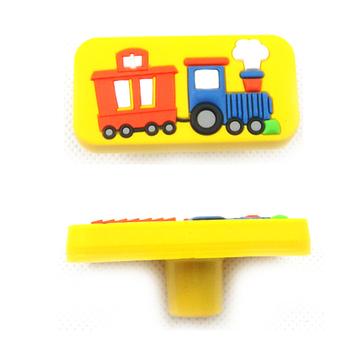 Single Hole Cartoon Train Knob Kids Drawer Handles Furniture Bedroom Door Knobs Dresser Drawer Pulls Yellow A1052-81