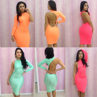 Sexy Womens Ladies O Neck Long Sleeve Cut Out Backless Slim Fit Bodycon Clubwear Dress Sexy Pencil Dresses Size M Free Shipping