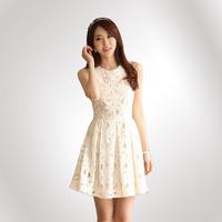 2014 Spring Summer Autumn Elegant Lace Chiffon O-Neck Sleeveless Casual Fashion Dress  White Party dresses S-XXL Free Shipping