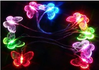 6W Colorful Small Night Light 2.5m 10pcs Butterfly LED String Light Flexible Light AA Battery for Christmas Holiday Romantic