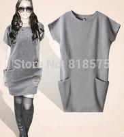 Spring 2014 new fashion women clothing wholesale,brand desigual short sleeve Knit dresses,loose plus size ladies casual dress