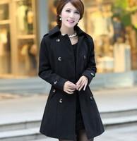 Free shipping 3319 Autumn Women wholesale fashion solid color uniform-style belt Slim woolen coat woolen coat Ms.