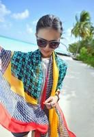 Free Shipping !2014 Fall/winter New! Exquisite Geometric Patterns Fashion Brand Emulation Silk Women Scarf Shawl. L-114