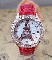 HOT SALE  2013 Fashion Brand Women  Eiffel Tower Crystal Watch Ladies women Quatz watches   go059