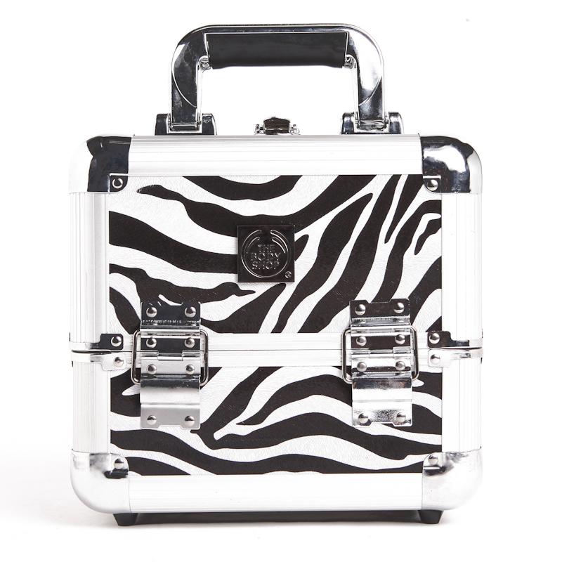 Free Shipping The Body Shop Retail Fashion Black Zebra Cosmetic Case Aluminum Makeup Case(China (Mai
