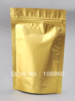 "100pcs gold stand up zip lock pouch foil mylar Bag grip seal  8x13cm/3""x5""   0.5-0.75 OZ"