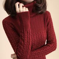 Free Shipping Women'S Vintage Slim Medium-Long Turtleneck Twisted Knitted Basic Shirt Thick Sweater Female Woman