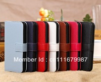 10pcs/lot PU Litchi  Wallet Leather Case Cover ID Card Pouch for iphone 5C