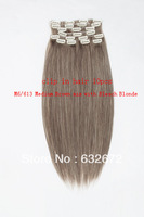 best selling product 2013 hair in clips M6/613 Medium Brown Bleach Blonde 22inches 10pcs