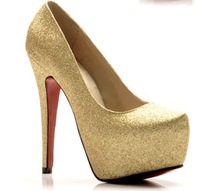 New 2014 Fashion Platform 11cm High Heels Wedding Shoes Gold Bridal Shoes Women Dress Pumps Large Size