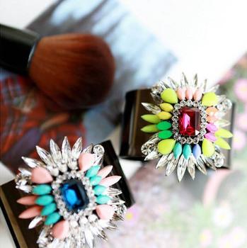 2014 Brand Jewelry Fashion Neon flower crystal jewelry Black Alloy women bangles bracelets Free shipping Shopping festival
