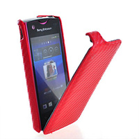 1pcs/lot Luxury Grid pattern leather case For Sony Ericsson Xperia Ray St18i Leather flip Case Flipcover with pink,red,black