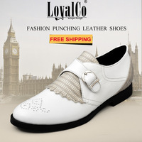 Free Shipping 2013 New Arrivals Women's Shoes Genuine Sheepskin Leather Buckle White LoyalCo Women's Casual Brogues Flats