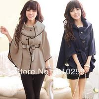 A274 free shipping 2013 women new fashion khaki blue large lapel poncho cloak outerwear ladies autumn batwing loose coats jacket