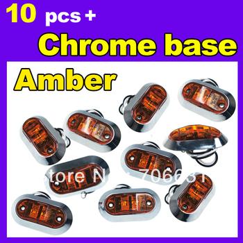 10x Amber Color SUPERFLUX LED MARKER CLEARANCE ABS lens Trailer TRUCK LIGHT LAMP SAE & DOT  12V + Round Base
