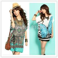 2014 New Summer Lady Fashion Dress Butterfly Print Bohemia Style Beach Dress Plus Size