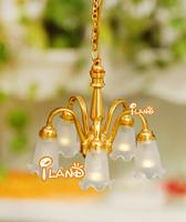 iland wholesale 1/12 Dollhouse Miniature 5 Arms Ceiling Light 24k Gold Plated Flower Shape LH019 classic toys