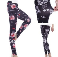 Excellent Quality Wholesale 5pcs Women's British UK Flag Print Black Red Fashionable Elastic Sexy Leggings 047
